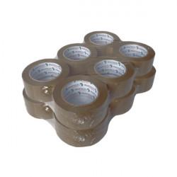 Lot de 12 rubans adhésifs PVC solvant havane 48 mm x 100 m x 33µ